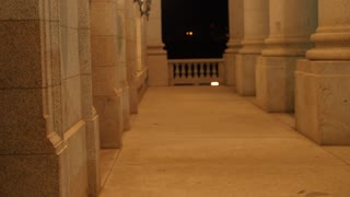 Lights and pillars at the Utah State Capitol at night