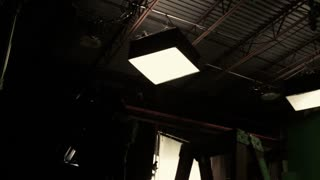 lights on green screen film set