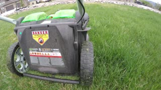 Low shot of lawn mower mowing tall grass on the lawn
