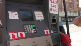 Man at gas station
