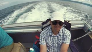 Man riding on a fishing boat Cape Breton