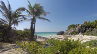 Mayan ruin at Tulum on coastline near Cancun in jungle panning shot