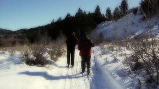 men cross country skiing