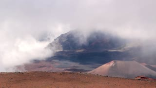 Mountain Volcano and Clouds