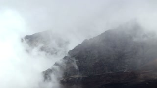 Mountains covered in clouds