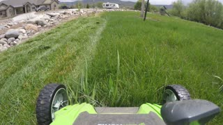 Mowing the lawn with an electric mower