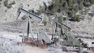 Oil rig pumping oil