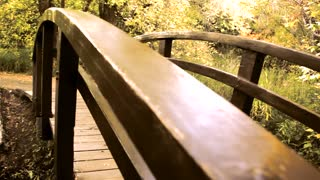 Old footbridge over water dolly shot
