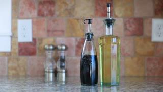 olive oil and balsamic vinegar in kitchen
