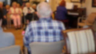 Out Of Focus Shot Old People Listening To A Piano In Retirement Home