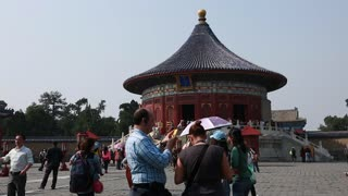 people in temple of heaven in beijing china