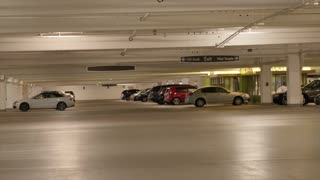 People in the parking garage