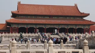 people inside forbidden city palace in beijing china
