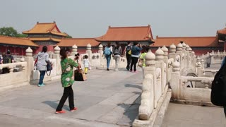 people inside the forbidden city in beijing china