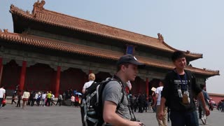 People viewing amazing Forbidden City courtyard Beijing China