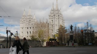 People walking in Temple Square at Salt Lake City Utah