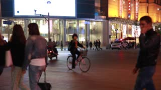 police in downtown beijing china in night