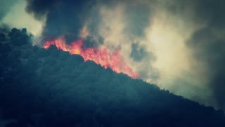 Raging Forest Fire on the Mountain