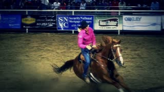 Rodeo Barrel Racing Slow Motion