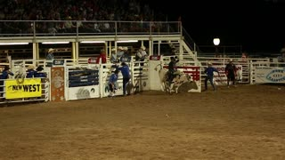 rodeo bull rider in slow motion