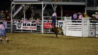 Rodeo Clown Jumps Over Bull Slow Motion
