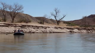 rowing a river raft on the san juan river on rafts