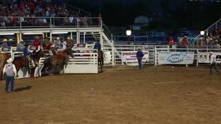 saddle bronc ride at rodeo slow motion