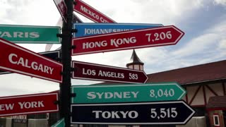 Sign post with different countries
