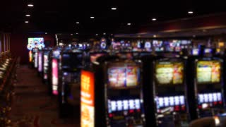 Slot machines and bright lights in casino