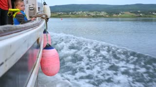 Slow Motion Of Families On Fishing Boat Entering Margaree Harbor