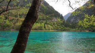 Spectacular blue water lake in jiuzhaigou Valley national park in China dolly
