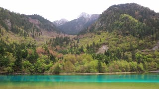 spectacular blue water lake in jiuzhaigou valley national park in china