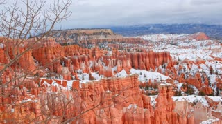 Static Shot Of Bryce Canyon National Park Hoodoos In Winter
