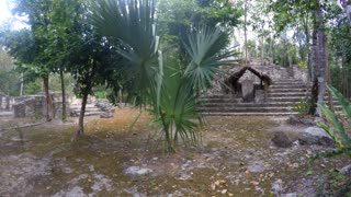 Stone pyramids at Mayan ruin in Coba near Cancun in jungle
