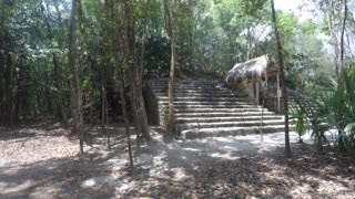 Stone stairs at Mayan ruin in Coba near Cancun in jungle
