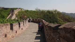 the ancient great wall of china beijing mutianyu with tourists