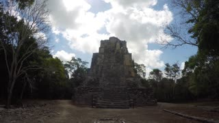 The ancient stone Mayan ruins at Coba near Cancun