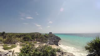 The Beach Side Mayan Ruins At Tulum Mexico