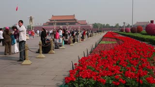 the beautiful gardens at tiananmen square beijing china
