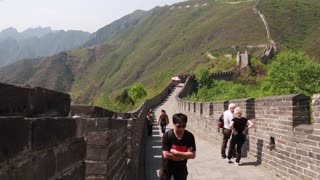 the beautiful great wall of china beijing mutianyu with tourists