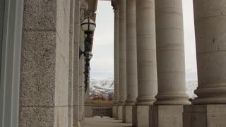 The Granite pillars at Utah State Capitol Building dolly shot