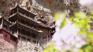 the hanging temple monastery at datong china dolly shot