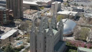 The mormon Temple in Salt Lake City Utah from above