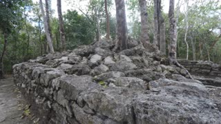 The old Mayan ruin in Coba near Tulum Mexico