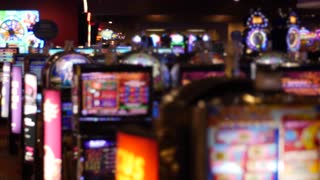 The slot machines and bright lights at a casino