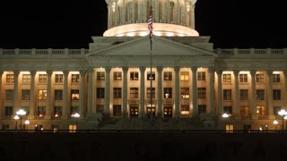 The Utah State Capitol Building at Night tilting shot