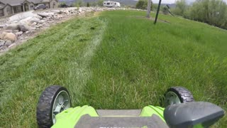 Timelapse mowing the lawn with an electric mower