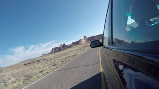 Timelapse of driving in Arches National Park exterior shot