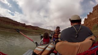timelapse of rowing down river on rafts