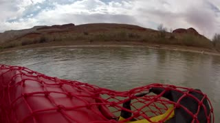 timelapse of rowing down the river on rafts